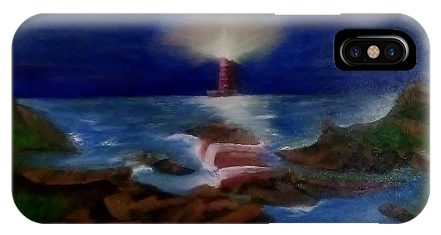 Lighthouse IPhone X / XS Case featuring the painting Lighthouse At Night by Denise Fletcher
