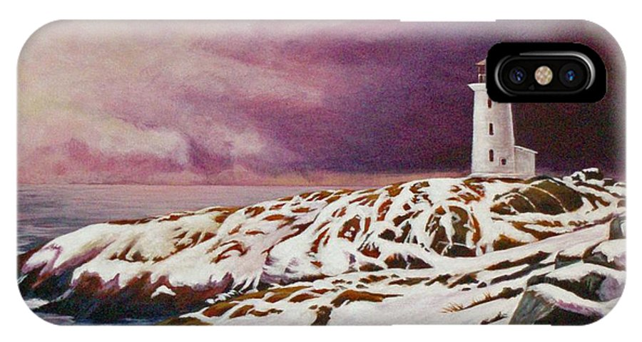 Lighthouse IPhone X Case featuring the painting Lighthouse by Craig Johnstone