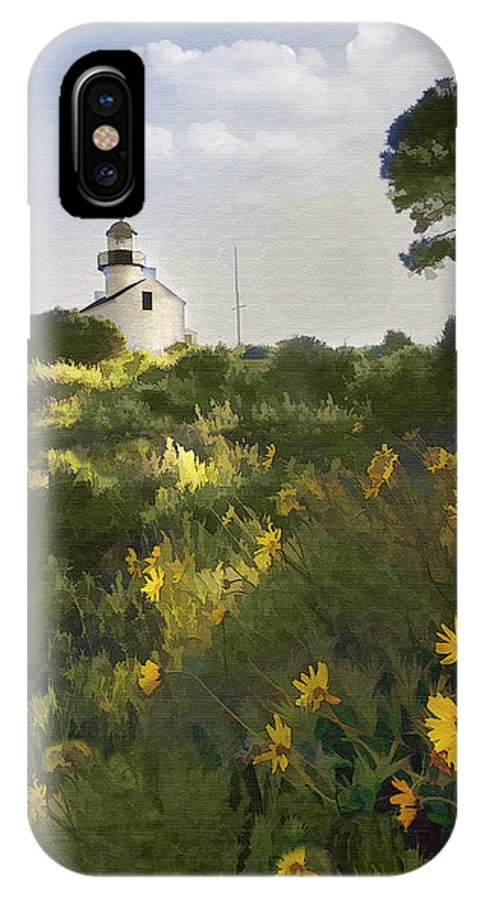 Lighthouse IPhone X Case featuring the digital art Lighthouse Daisies by Sharon Foster