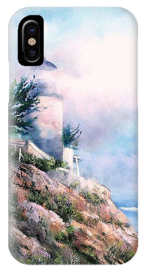 Lighthouse IPhone X Case featuring the painting Lighthouse In The Mist by Sally Seago
