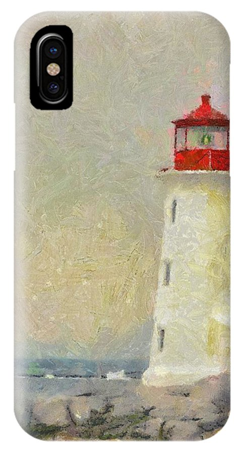 Canadian IPhone X Case featuring the painting Lighthouse by Jeffrey Kolker