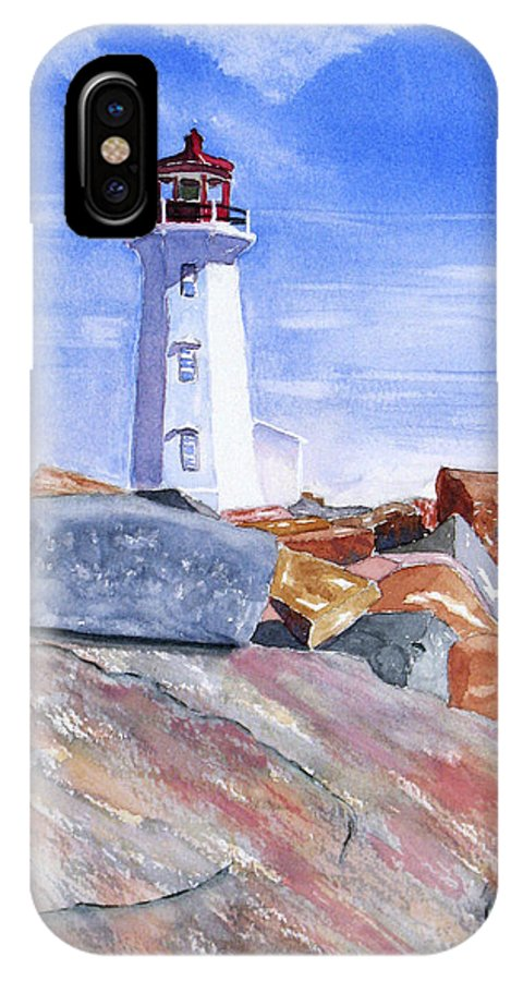 Lighthouse IPhone X Case featuring the painting Lighthouse Peggys Cove by Rich Stedman