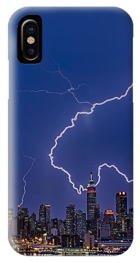 Lightning IPhone X Case featuring the photograph Lightning Bolts Over New York City by Susan Candelario
