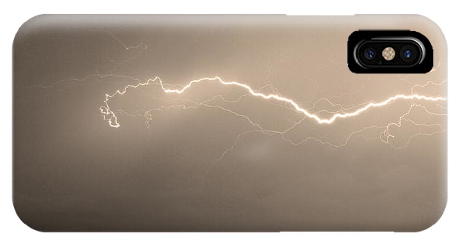 Lightning IPhone X Case featuring the photograph Lightning Over North Boulder Colorado Ibm Sepia by James BO Insogna