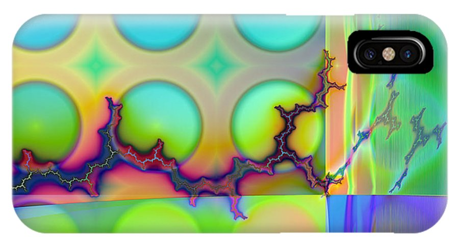 Fractal IPhone X Case featuring the digital art Lightning Path by Frederic Durville