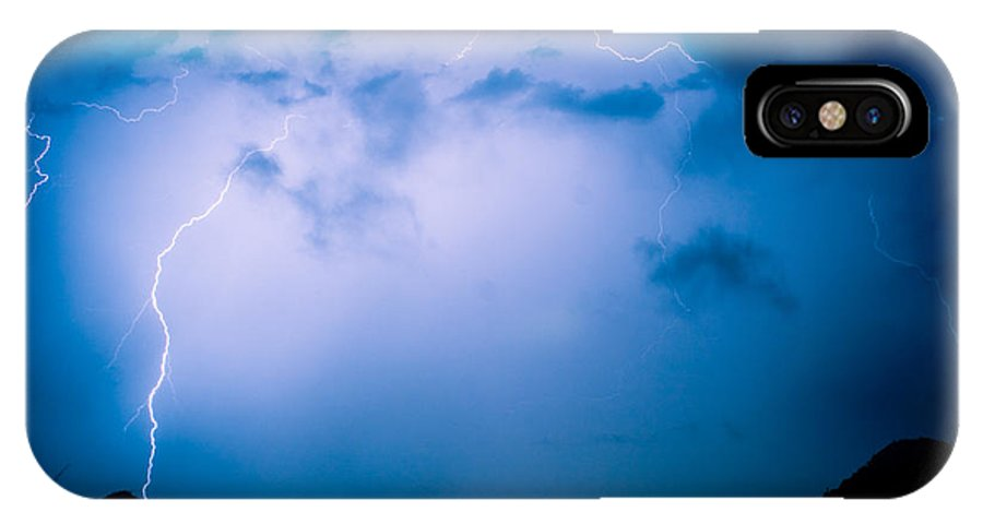 Lightning IPhone X Case featuring the photograph Lightning Rainbow Blues by James BO Insogna