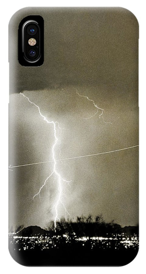 Lightning IPhone X Case featuring the photograph Lightning Storm City Lights Jet Airplane Fine Art Photography by James BO Insogna