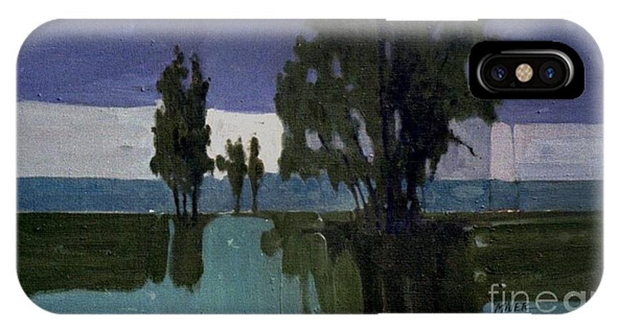 Nocturne IPhone X Case featuring the painting Lights On The Horizon by Donald Maier