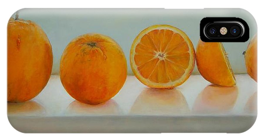 Floral IPhone Case featuring the painting Ligne D Oranges by Muriel Dolemieux