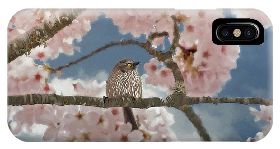 Lil Bushtit IPhone X Case featuring the painting Lil Bushtit by Beve Brown-Clark Photography