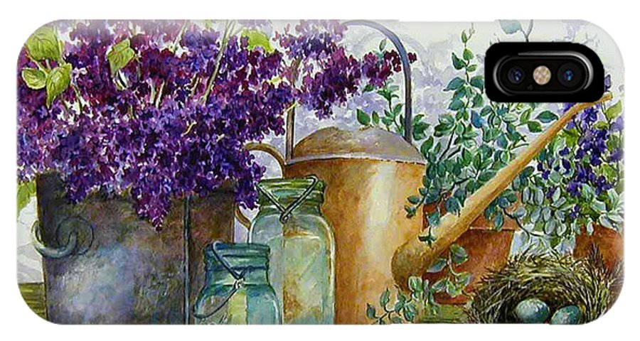 Still Life;lilacs; Ball Jars; Watering Can;bird Nest; Bird Eggs; IPhone Case featuring the painting Lilacs And Ball Jars by Lois Mountz