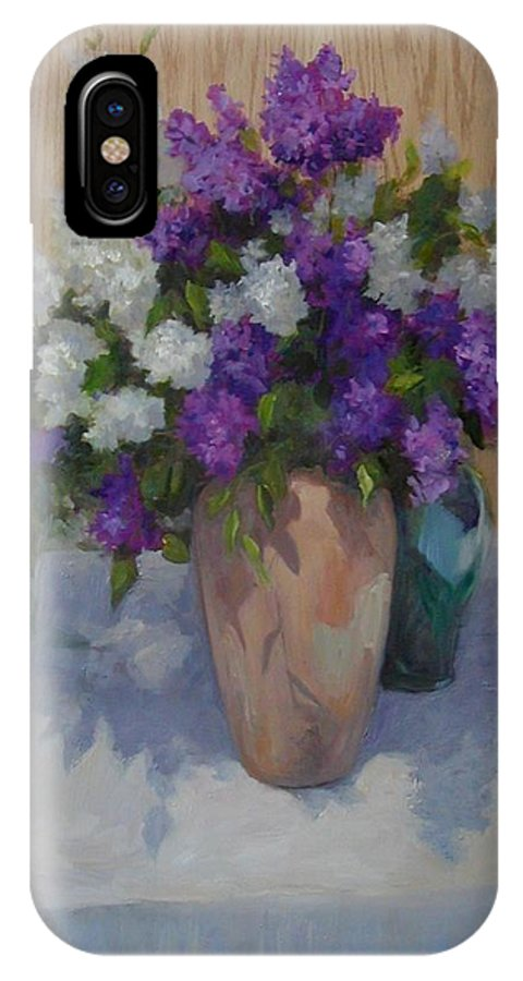 Lilacs IPhone Case featuring the painting Lilacs by Patricia Kness