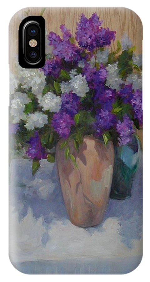 Lilacs IPhone X Case featuring the painting Lilacs by Patricia Kness