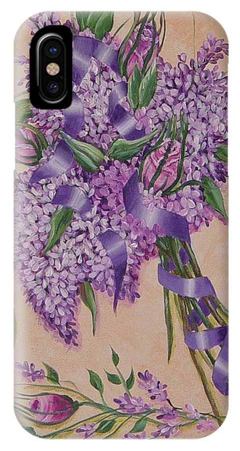 Lilacs IPhone X Case featuring the painting Lilacs by Quwatha Valentine