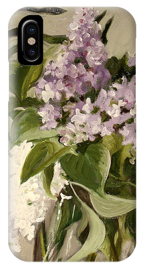 Still-life IPhone X Case featuring the painting Lilacs by Sarah Lynch