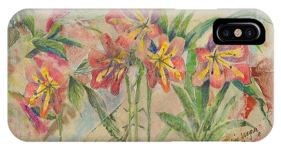 Flowers IPhone X Case featuring the mixed media Lilies In Disguise by Arline Wagner