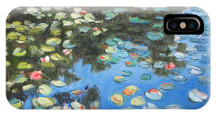 Lilie Pond IPhone Case featuring the painting Lilies by Paul Walsh