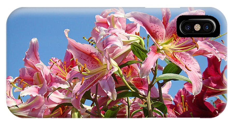 Lilies IPhone X Case featuring the photograph Lilies Pink Lily Flowers Art Prints Floral Summer Garden Baslee Troutman by Baslee Troutman