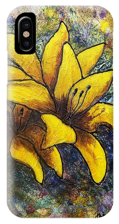 Flowers IPhone X Case featuring the painting Lilies by Tami Booher