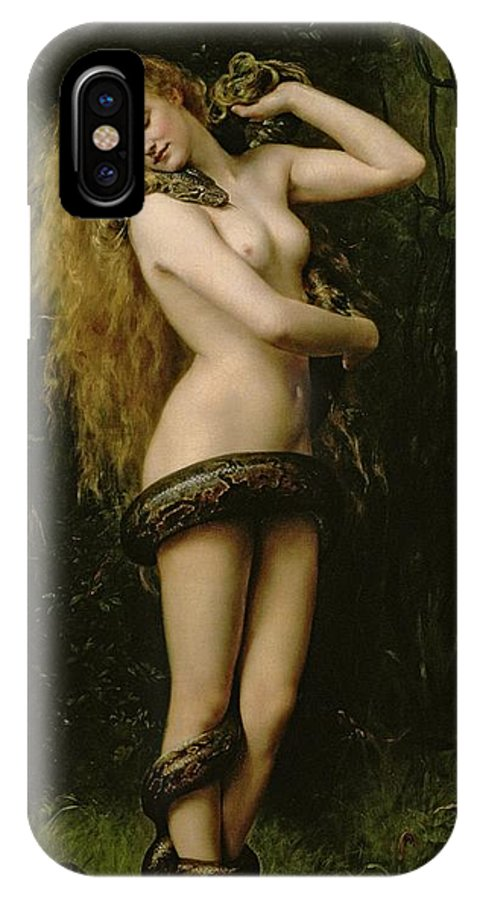 Nude; Female; Snake; Long Hair; Pre-raphaelite; Lilith IPhone X Case featuring the painting Lilith by John Collier