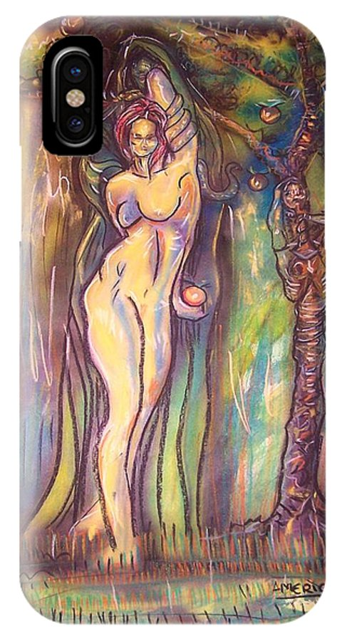 Lilith IPhone X Case featuring the painting Lilith Satan Adam And The Fruit by Americo Salazar