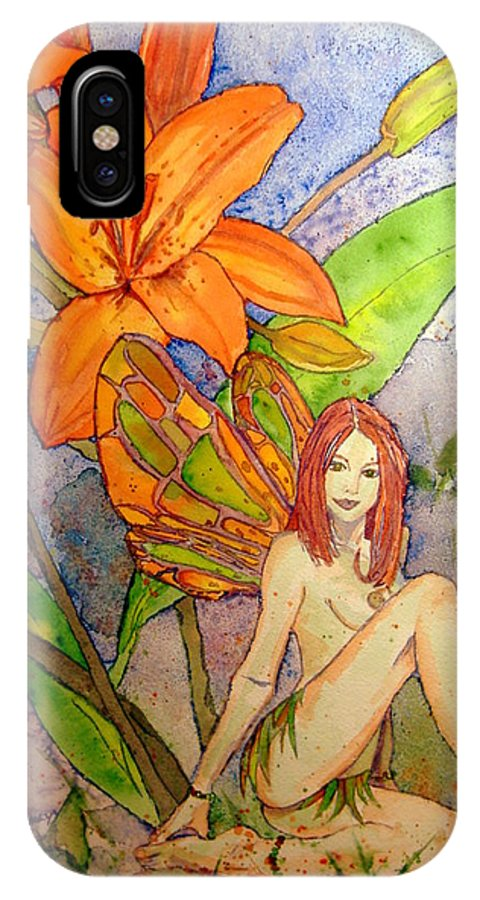 Faerie IPhone X Case featuring the painting Lillian Keeper Of Both Wealth And Pride - Watercolor by Donna Hanna