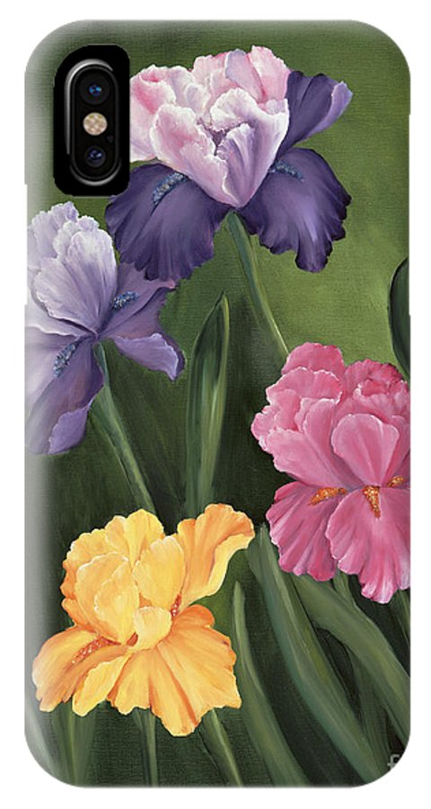 Iris IPhone X Case featuring the painting Lill's Garden by Carol Sweetwood