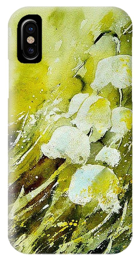 Flowers IPhone X Case featuring the painting Lilly Of The Valley by Pol Ledent