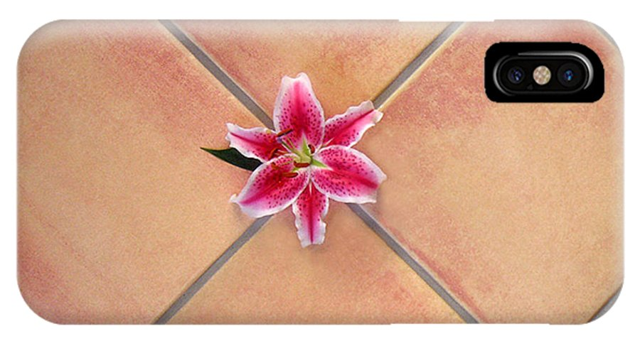 Nature IPhone X Case featuring the photograph Lily Alone On Tile by Lucyna A M Green