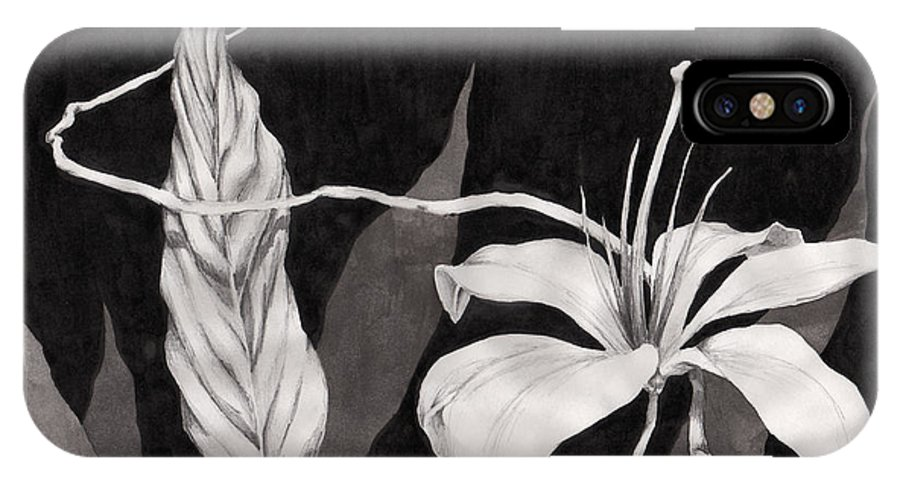 Ink Painting IPhone X Case featuring the drawing Lily In The Night by Jennifer McDuffie