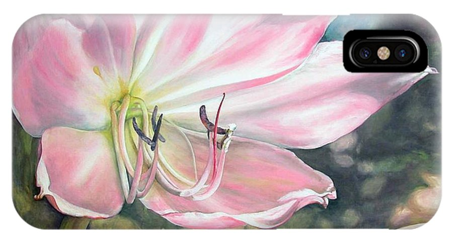 Floral Painting IPhone X / XS Case featuring the painting Lily by Muriel Dolemieux