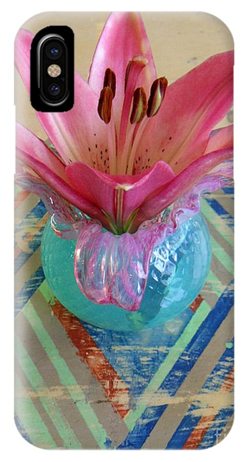 Nature IPhone X Case featuring the photograph Lily On A Painted Table Too by Lucyna A M Green