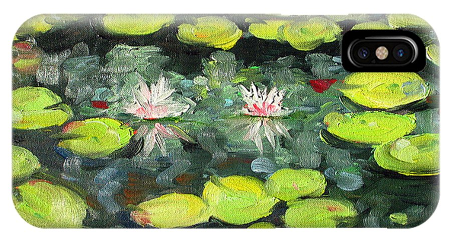 Pond IPhone X Case featuring the painting Lily Pond by Paul Walsh