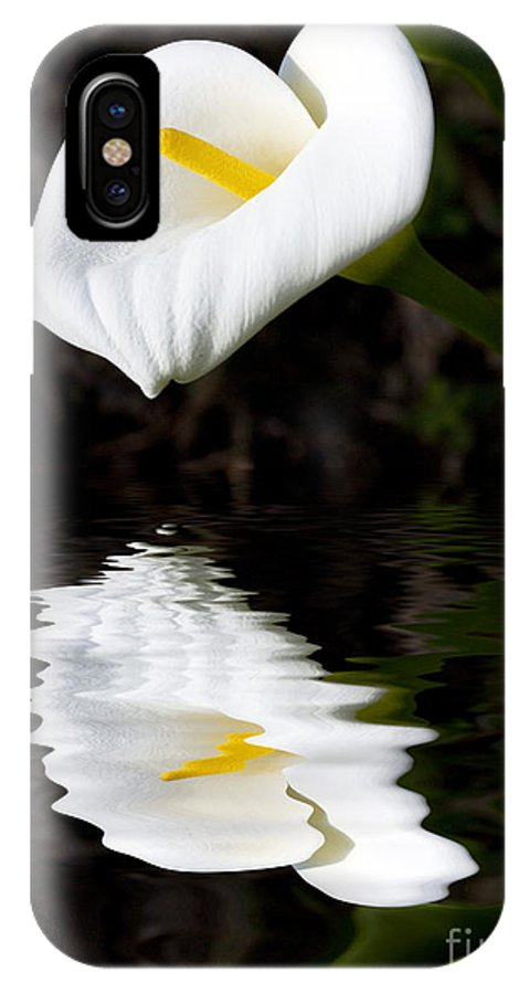 Lily Reflection Flora Flower IPhone X Case featuring the photograph Lily Reflection by Sheila Smart Fine Art Photography