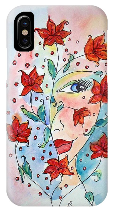 Lily IPhone X Case featuring the painting Lily by Robin Monroe