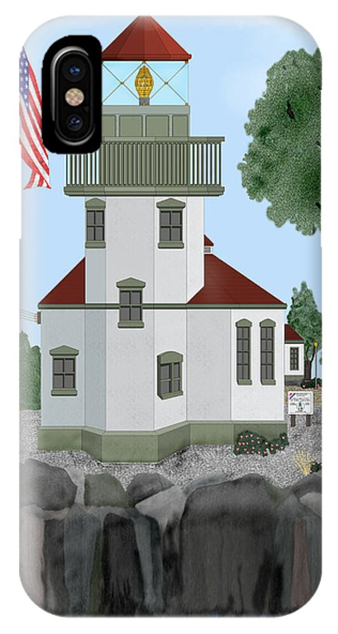 Lighthouses IPhone X Case featuring the painting Lime Kiln Light On San Juan Island by Anne Norskog