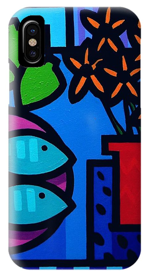 Still Life IPhone X Case featuring the painting Limes Fish Flowers by John Nolan