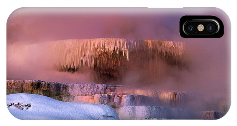 North America IPhone X Case featuring the photograph Limestone Artwork Minerva Springs Yellowstone National Park by Dave Welling