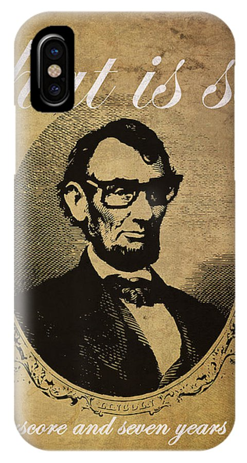 Lincoln IPhone X Case featuring the mixed media Lincoln Nerd That Is So Fourscore And Seven Years Ago Color by Design Turnpike