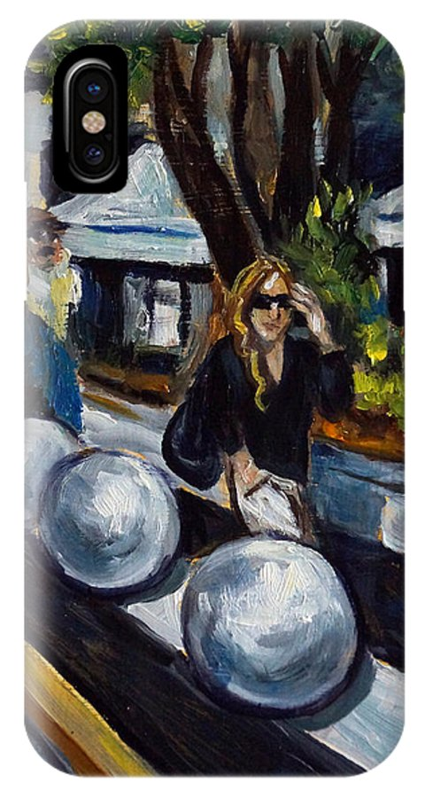 Shopping IPhone X Case featuring the painting Lincoln Road by Valerie Vescovi