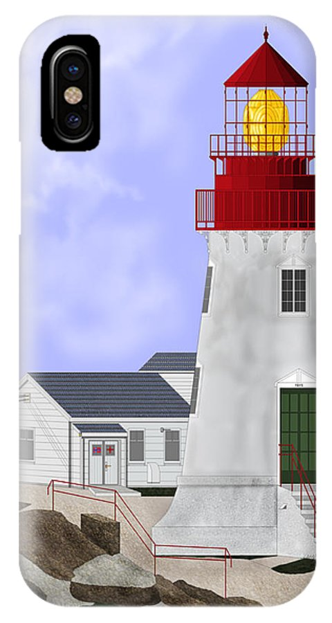 Lighthouse IPhone X Case featuring the painting Lindesnes Norway Lighthouse by Anne Norskog