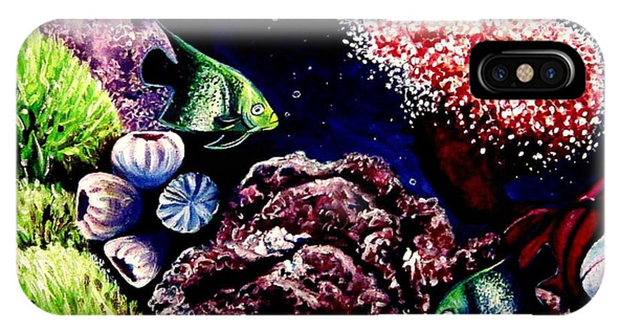 Fish IPhone X Case featuring the painting Lindsay's Aquarium by Elizabeth Robinette Tyndall