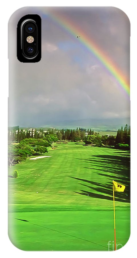 Hawai'i IPhone X Case featuring the photograph Maui Hawaii Kapalua Village Golf Course Line of Flight by Jim Cazel
