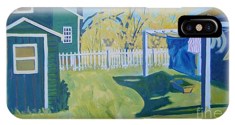 Backyard IPhone X Case featuring the painting Line Of Wash by Debra Bretton Robinson