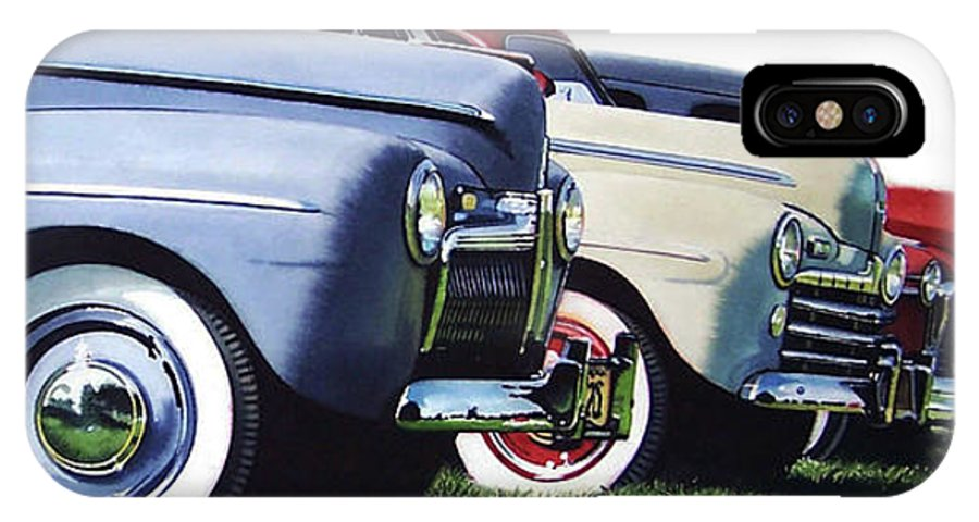 Antique Cars IPhone X Case featuring the painting Line Up by Denny Bond