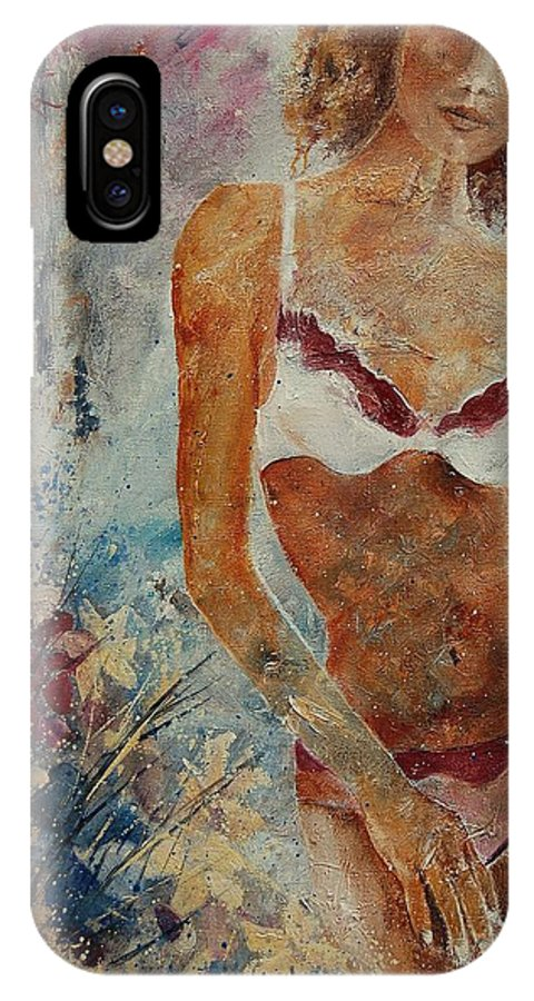 Girl IPhone X Case featuring the painting Lingerie 57 by Pol Ledent