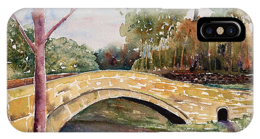 Linton IPhone X Case featuring the painting Linton Beck Yorkshire by Renee Chastant