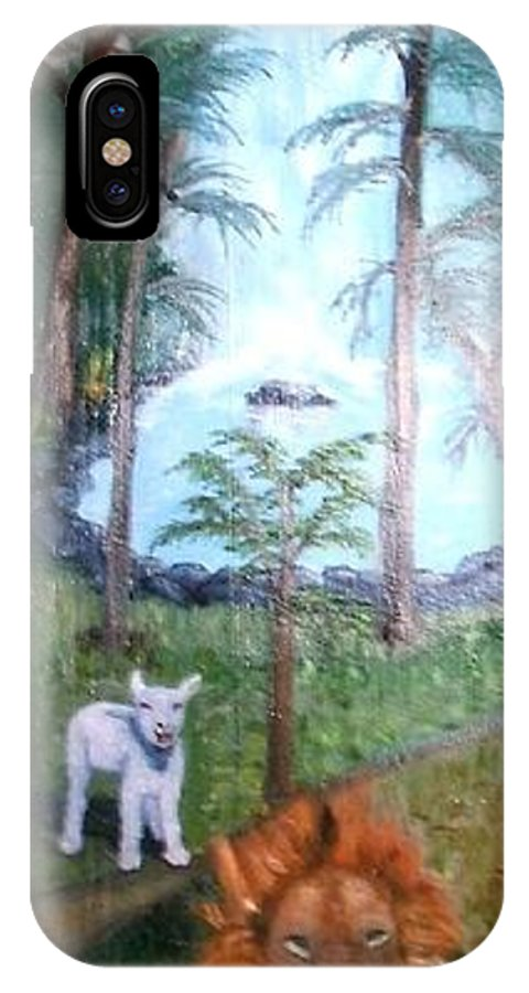 Antique IPhone X Case featuring the painting Lion And Lamb by Beverly Hanni