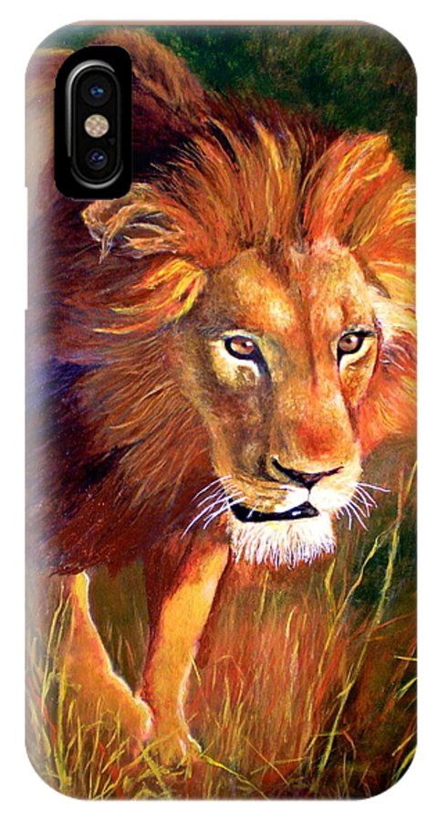 Lion IPhone X Case featuring the painting Lion at Sunset by Michael Durst