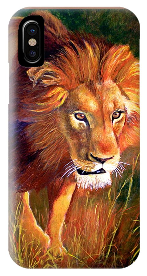 Lion IPhone Case featuring the painting Lion At Sunset by Michael Durst